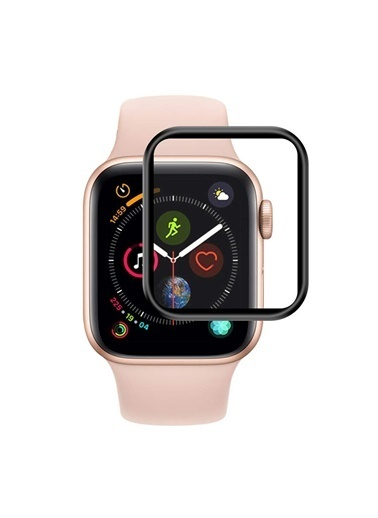 Microsonic Apple Watch Series 6 44mm Tam Kaplayan Temperli Cam Full Ekran koruyucu Siyah Siyah